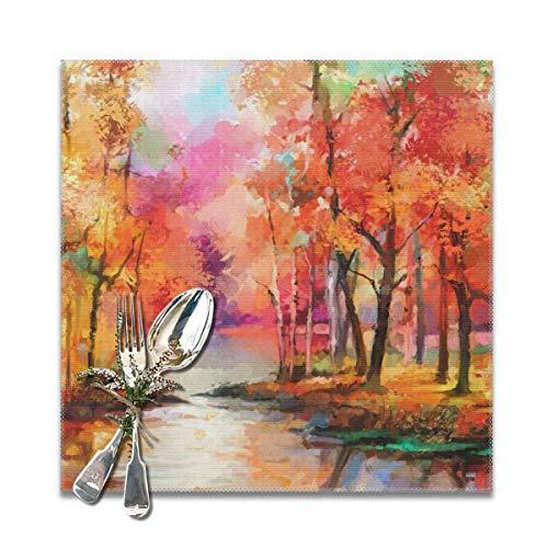 Houity olieverfschilderij semi abstract rood blad populier en meer wasbaar zacht voor keuken diner tafel matPlacemat, gemakkelijk te reinigen handig opvouwbare opslag Placemat 12x12 Inch Set van 6