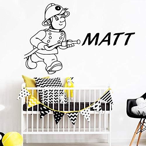 Pegatinas de pared de bombero simple papel tapiz para decoración de habitación de niños pegatinas calcomanías pegatinas de pared autoadhesivas impermeables A9 43x47cm