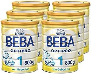 Nestlé BEBA 雀巢貝巴 Optipro 1 段嬰幼兒奶粉 適合新生兒 包裝可重復密封 帶奶粉勺 6罐裝 (6x800 g)(不含助溶劑,沖泡需用力搖,沖后有結晶非品質問題,請放心食用)