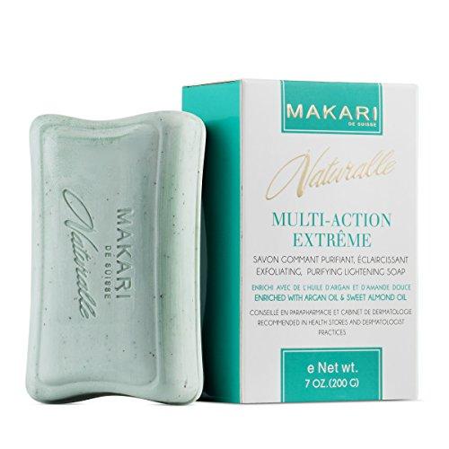 Makari Naturalle Muti-Action Extrême Savon Éclaircissant 7oz - Savon hydratant et exfoliant à base d'huile d'Argan – Soins hydratants anti-taches, cicatrices et éruptions acnéiques