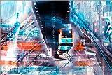 Poster 130 x 90 cm: Wuppertal Abtrakte Collage Skyline von