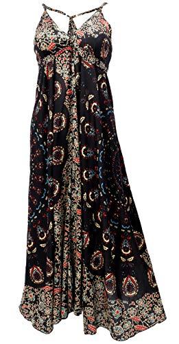 Guru-Shop Sommerkleid, Maxikleid, Strandkleid, Hippiekleid im Peacook Style, Damen, Schwarz, Synthetisch, Size:38, Lange & Midi-Kleider Alternative Bekleidung
