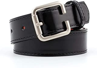 SGJFZD Women's Microfiber Belt Fashionable Personalized Buckle Women's Decorative Belt Joker Jeans Belt (Color : Black, Size : 110 * 2.9cm)