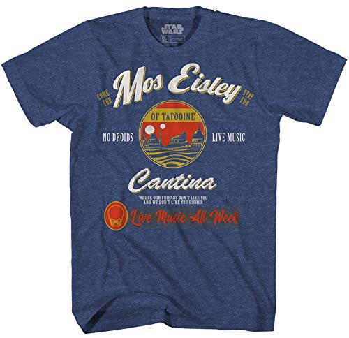 Star Wars Mos Eisley Cantina Tatooine Men's Adult Graphic Tee T-Shirt (Navy Heather, X-Large)
