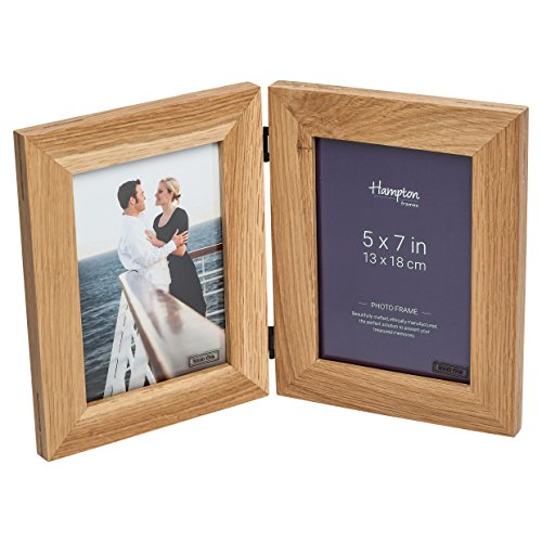 New England Solid Oak Wood 5x7 Pouce 13x18cm Double Vertical Hinged Photo Frame Beautiful Mortise Corner Joints Table Top Standing 464805V