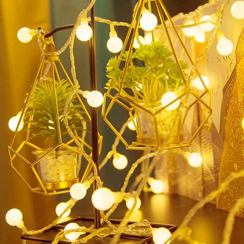 Catena Luminosa, 6M 40 LED Luci Stringa LED a Batteria, Bianco Caldo Impermeabile Luci Decorative per Esterno/Interno Giardino Patio Balcone Casa Festa Matrimonio (2 Modalità)