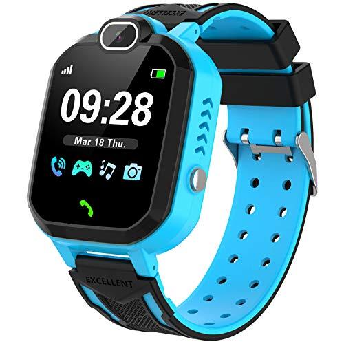 Kinder Smart Watch, Spieluhr mit Kamera Musik Player Schulmodus Wecker SOS nennt Smart Watch für Kinder 4-12 Jahre Mädchen Junge Geburtstag Festival Geschenk-Blau