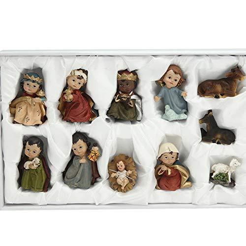 Idkska 11Pack Born in Bethlehem Nativity Figurines Set-Nativity Sets for Christmas Indoor-Manger Scene Christmas Decorations