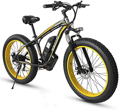 Bicicleta electrica Bicicleta de montaña eléctrica de neumático de gordo adulto, ruedas de 26 pulgadas, marco de aleación de aluminio ligero, suspensión delantera, frenos de disco dual, bicicleta de t