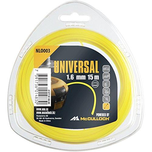Universal Trimmerfaden Nylon 1.6mmx15m, NLO003: Ersatzfaden für Rasentrimmer, Länge 15 m, Faden-Ø 1.6 mm, reißfestes Nylon (Artikel-Nr. 00057-76.163.03)