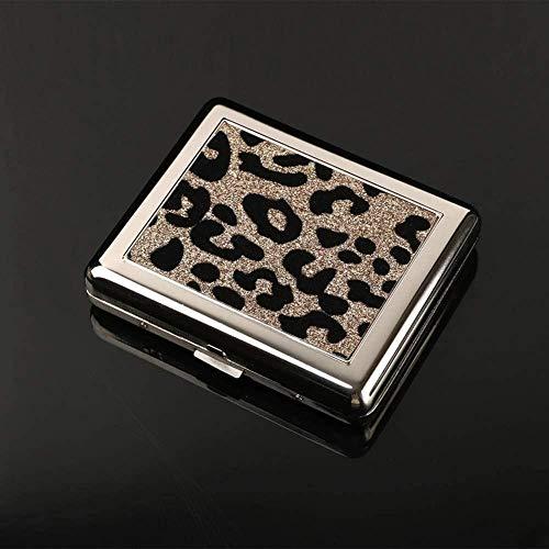La Caja de Cigarrillos de Acero Inoxidable para Damas con Estampado de Leopardo Puede Contener 20 Cigarrillos ordinarios Caja de Cigarrillos Unisex portátil Ultrafina Fantastic