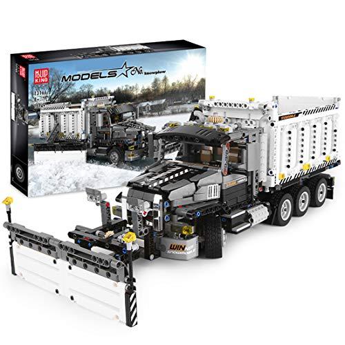 PEXL Technik Schneepflug LKW Bausteine Bausatz, City Pistenraupe Bauset, 1690 Klemmbausteine Kompatibel mit Lego Technik