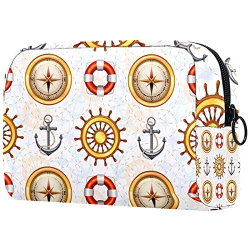 FURINKAZAN Patrón marino brújula barco ancla viaje maquillaje bolsa bolsa para artículos de tocador bolsa de maquillaje hombres y mujeres