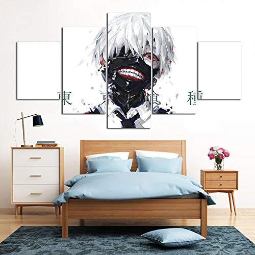 PULUKESns Póster Impreso en Lienzo 5 Paneles animación Japonesa Tokyo Guru Pintura Dibujos Animados decoración del hogar niño Dormitorio imágenes modulares sin Marco