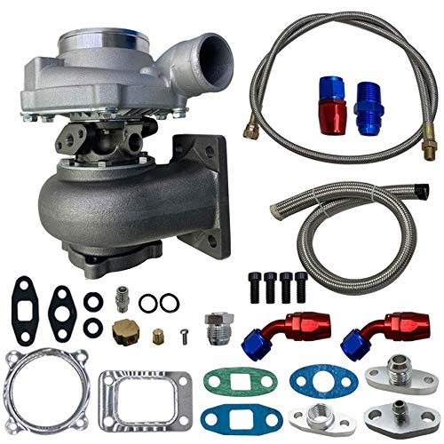 labwork Turbocharger W/Oil Feed Line & Oil Return Line Kit Replacement for all 6/8 cyl 3.0L-5.0L Engines 500BHP Water + Oil Cooled GT30 GT3076 GT3037 Turbo
