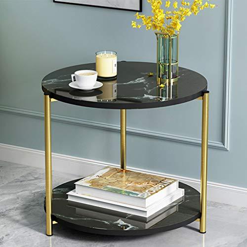 Table de Bout Ronde avec Motif en marbre, Table d'appoint Simple et Moderne à côté du canapé, Support de Rangement à 2 Niveaux