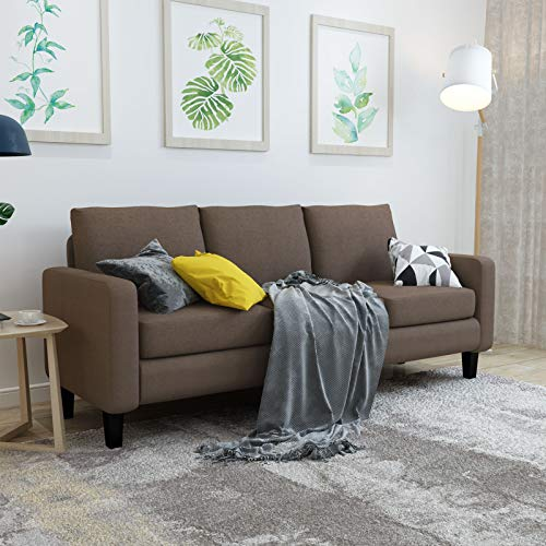 Mecor Modern 3 Seater Sofa Couch Linen Fabric Sofa w/Thick Cushion and Deep Seat Mid-Century Upholstered Accent Arm Sofa Loveseat for for Living Room, Bedroom, Office, Apartment, Small Space