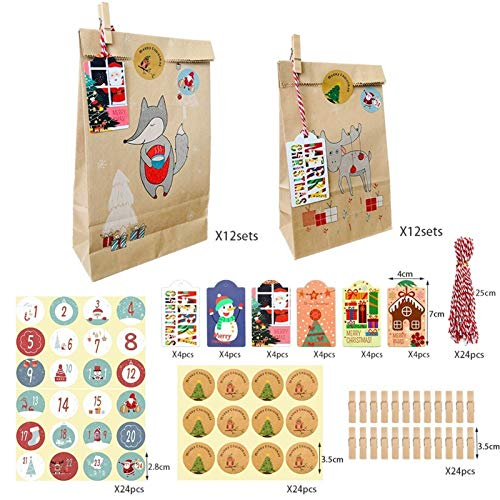 HAPPKING 12 / 24PCS Weihnachts Kraftpapier Backverpackungstasche Neue Weihnachtsbonbon Papiertüte Weihnachtsaufkleberverpackung Geschenktüte Set (Farbe : A, Größe : 12PCS Large)