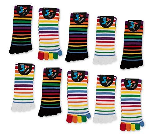 Damen Zehensocken Bunte Ringel 5 oder 10 Paar (35-42, 5 Paar | Farbmix)