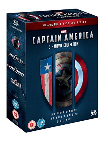 CAPTAIN AMERICA 3 MOVIE COLLECTION 3D DVD [Blu-ray] [Region Free]