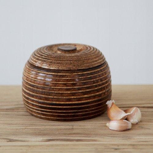 Paper High Small Hand Carved Mango Wood Bowl with Lid | Fair Trade | Handmade | Sustainable Wooden Storage Bowls