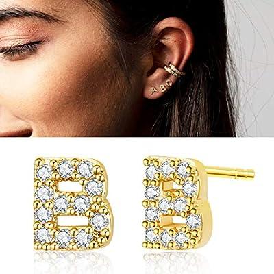 Ldurian Tiny A-Z Initial Stud Earrings, Hypoallergenic 14K Gold Plated Letter Stud Earrings Alphabet CZ Initial Earrings Jewelry Gifts for Kids Little Girls Women Sensitive Ears 5mm Cartilage Earrings