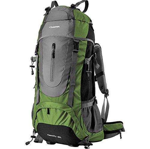 Plein air sac à dos randonnée sac de voyage bandoulière multifonctions imperméable à l'eau 65L hommes et de femmes envoyés habillage pluie , green 65 liters