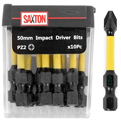 Saxton 10x PZ2-50mm Pozi-Drive 2 Impact Duty Screwdriver Drill Driver Bits Sets Tic Tac Box Compatible with Dewalt Milwaukee Bosch