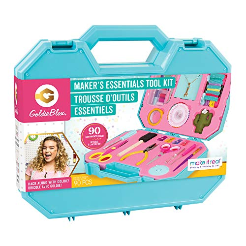 Make It Real GoldieBlox - Craft Essentials Tool Kit STEM Arts and Crafts Kit - 90 Piece Tool Set - Includes Screwdriver Set, Pliers - Signature Wrench Necklace Included
