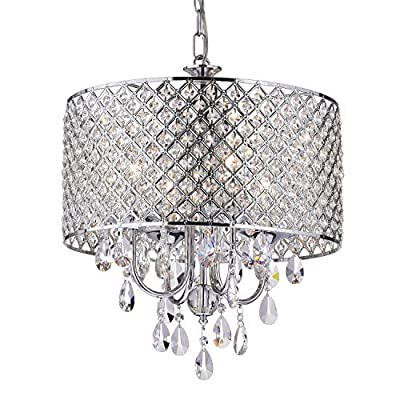EDVIVI Marya Drum Crystal Chandelier Ceiling Fixture| 4 lights Glam Lighting Fixture with Chrome Finish| Adjustable Ceiling Light with Round Crystal Drum Shade| Living room, Dining, Bedroom. from EDVIVI