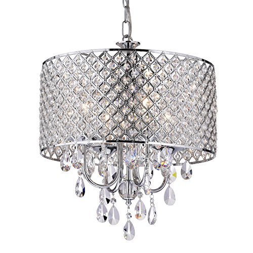 EDVIVI Marya Drum Crystal Chandelier Ceiling Fixture| 4 lights Glam Lighting Fixture with Chrome Finish| Adjustable Ceiling Light with Round Crystal Drum Shade| Living room, Dining, Bedroom.
