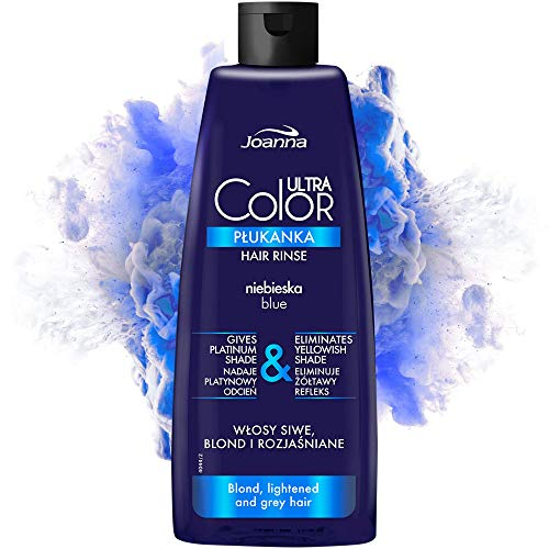 Joanna Ultra Color - Blaue Farbspülung für Blondes und Helles Haar - Platin-Grauer Farbton - Haarpflege - Beseitigt Gelbstich in Grau-Blond Blondiertem Haar - Wäscht sich von selbst aus - 150 ml