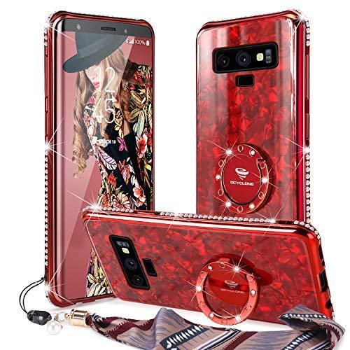 Funda para Galaxy Note 9,[Contraportada de Vidrio Templado] Purpurina Diamante Bumper Anillo Stand para Samsung Galaxy Note 9 Estuche Protector para Mujeres niñas - Rojo