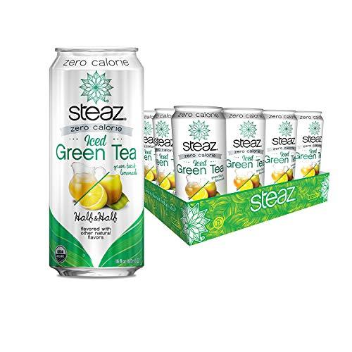 Steaz Organic Zero Calorie Iced Green Tea with Lemonade, Half & Half, 16 FL OZ (Pack of 12)