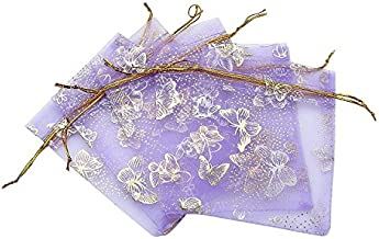 Ankirol 100pcs Mini Sheer Organza Wedding Favor Bags 3.5x4.5'' Luxury Jewelry Candy Gift Card Bags with Gold Line Drawstring Pouches Butterflies (Light Purple)