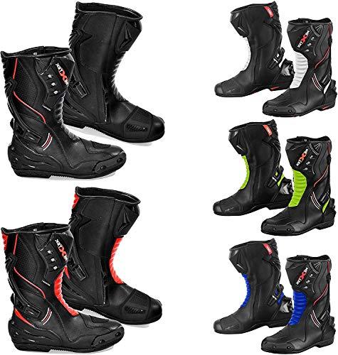 Profirst Global Motorradstiefel Herren - Motorrad gepanzerter Lederstiefel Touring Racing Sportschuhe für jedes Wetter mit Rutschfester Gummisohle (UK 6 / EU 40, Grün)