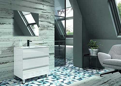 Conjunto mueble de baño tres cajones 80 cm blanco