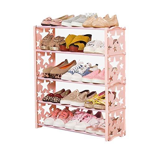 Diaod Zapatero Infantil, Simple Montado hogar de Materiales plásticos Multicapa Mini-Rack de Zapatos Lindo, Rosa
