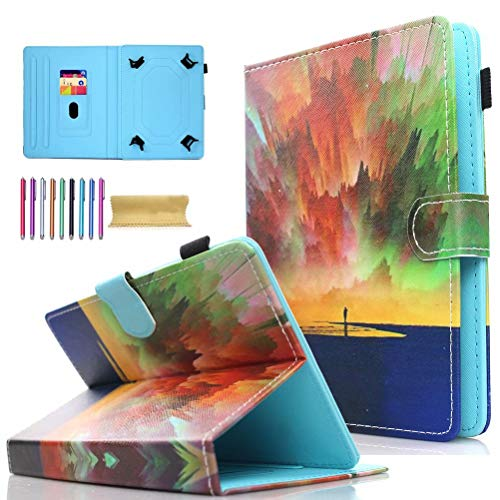 Universal 7.0' Tablet Case, AMOTIE Wallet Stand Cover w/Credit Card Slots for Samsung Galaxy Tab E 7.0/ Tab A 7.0/ Fire 7.0 2015 2017/ Lenovo/RCA and More 6.5-7.5 inch Tablet, Aurora