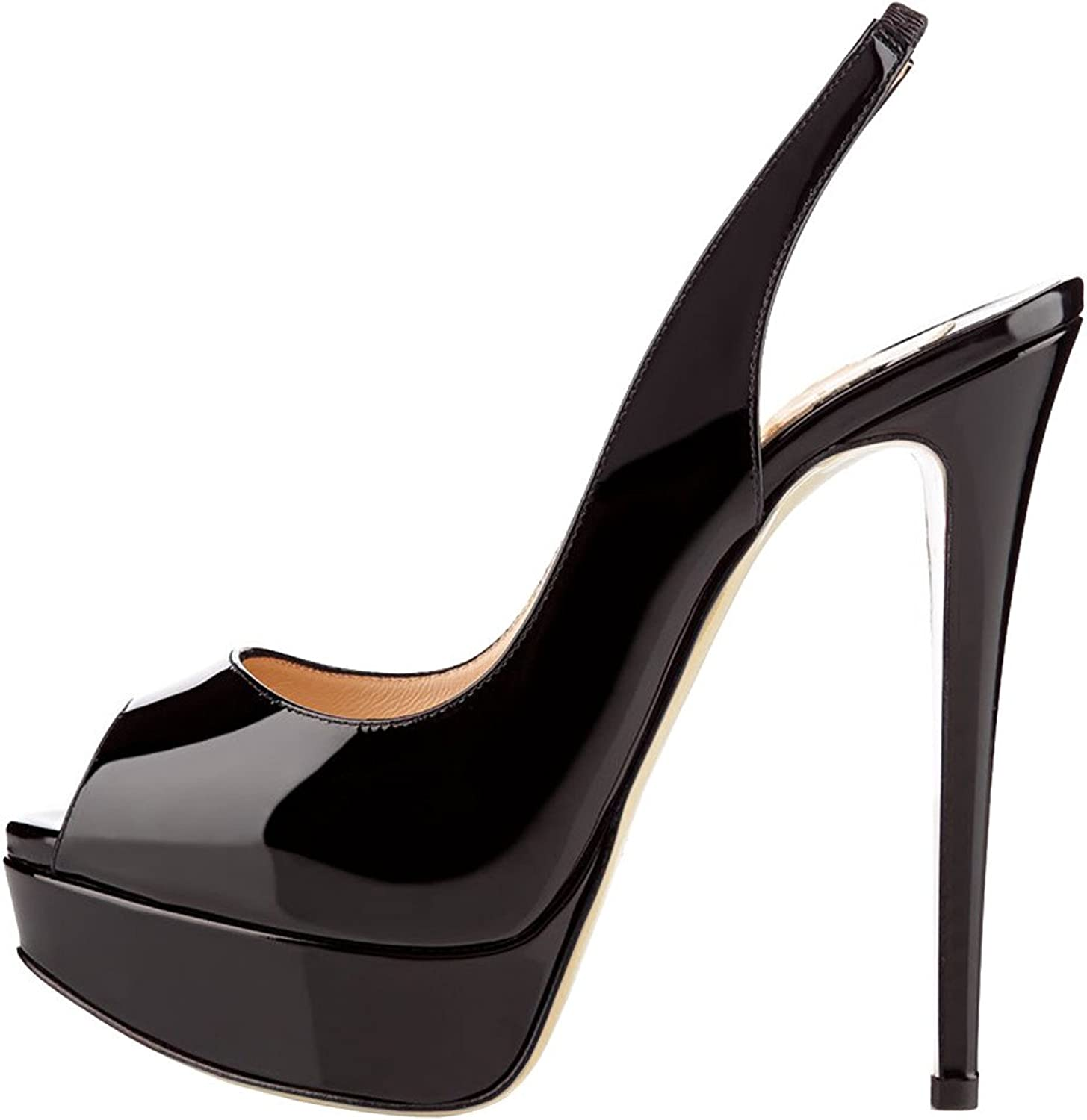 MERUMOTE Women's Slingbacks Peep Toe High Heels shoes Platform Pumps