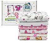 Clevere Kids Mulltücher | 6er-Pack | bedruckt | OEKO-TEX | doppelt gewebt | 70x80 | Spucktücher (Mädchen)