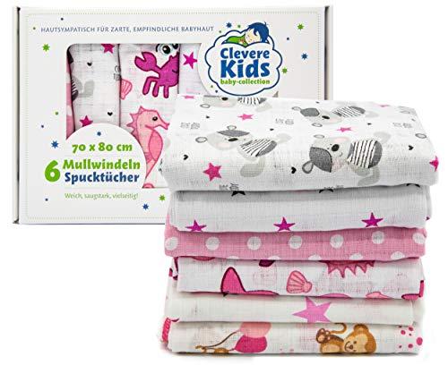 Clevere Kids Mulltücher   6er-Pack   bedruckt   OEKO-TEX   doppelt gewebt   70x80   Spucktücher (Mädchen)