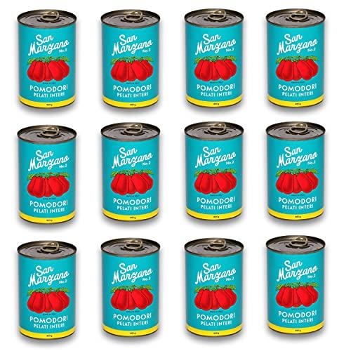 """DELICRET 12x 400g - San Marzano Tomaten aus Kampanien\""""Das rote Gold\""""   Ganze, geschälte Tomaten im eigenen Saft   +GRATIS DELICRET OMA Rezepte"""