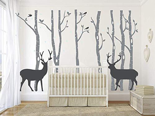 AIYANG Birch Tree muurstickers berkenboom muurtattoo woonkamer slaapkamer sticker kinderkamer muurschilderij behang poster muur kunst slaapkamer woonkamer decoratie 7sets-grau