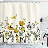 ABAKUHAUS Frühling Duschvorhang, Dot geflügelte Schmetterlinge, mit 12 Ringe Set Wasserdicht Stielvoll Modern Farbfest & Schimmel Resistent, 175x200 cm, Braun Gelb & Hellgrün