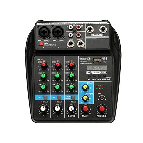 CZLABL Interfaz de Audio USB, Tarjeta de Sonido de Mezcla Adaptador de Consola de Audio Mezclador de Audio 48V Phantom Power para grabación de música de DJ Red de Transmisión en Vivo Karaoke