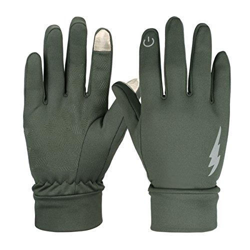 HiCool Winter Gloves, Touch Screen Gloves Thermal Gloves Driving Gloves for Men and Women (Army Green, L)