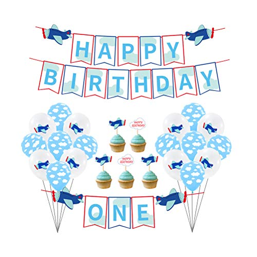 PTS Happy Birthday Banner First One Birthday Party Decoration Set Airplane Theme Party Banners Cake Pick Decor for Baby Favors 33PCS