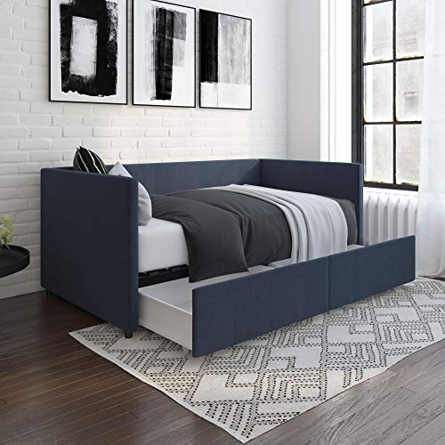 DHP Daybed with Storage Drawers, Twin, Blue Linen