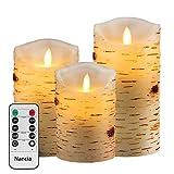 Nancia LED-Kerzen, flammenloses kerzenlichter,Birkenstämme Design Echtwachskerze, Batterie Kerzen(3er pack) 4,01Zoll, 5Zoll, 5,98Zoll, Fernbedienung mit 10 Tasten, mit 24-Stunden-Zeitschaltuhr